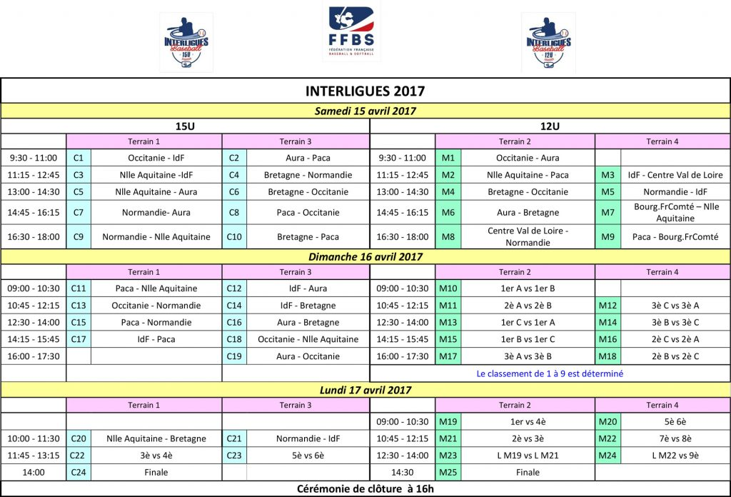 Planning Interligues 2017
